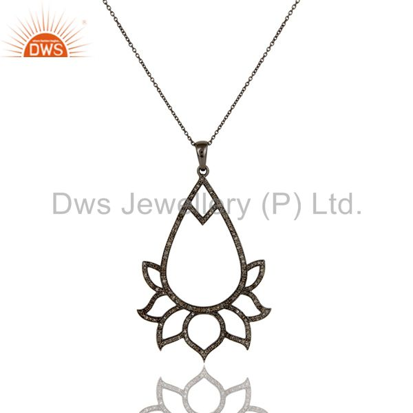 Black oxidized sterling silver diamond lotus design chain pendant necklace