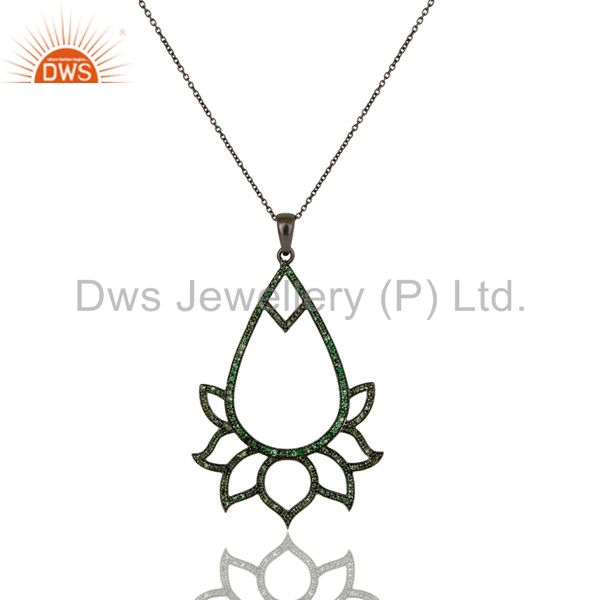 Black oxidized sterling silver tsavourite lotus style chain pendant necklace