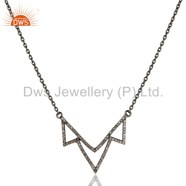 Black Oxidized Diamond Round Cut Sterling Silver Crown Chain Pendant Necklace