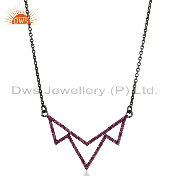 Handmade ruby gemstone pave diamond pendant wholesale supplier