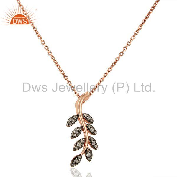Leaf shape rose gold plated pave diamond 925 silver pendant wholesale