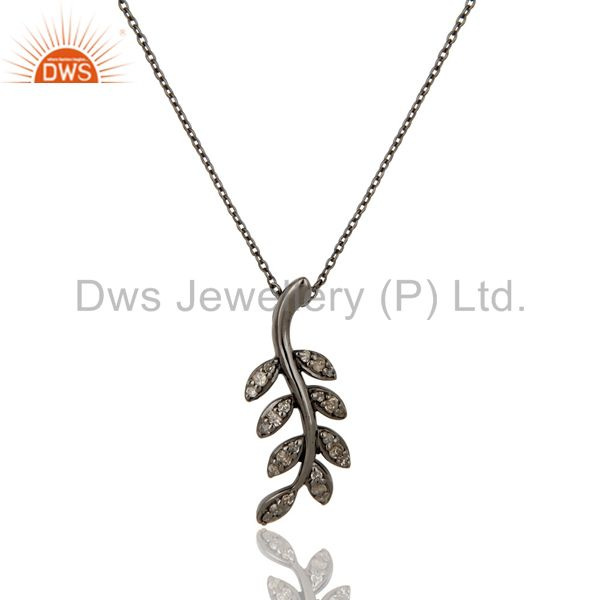 925 Sterling Silver Handmade Oxidized Leaf Design Pave Diamond Pendant Jewelry