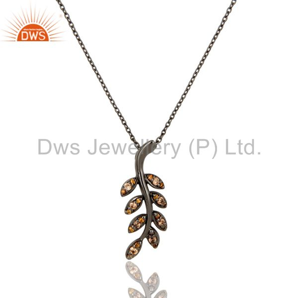 Black Oxidized With Spessartite Leaf Design Sterling Silver Pendant Necklace