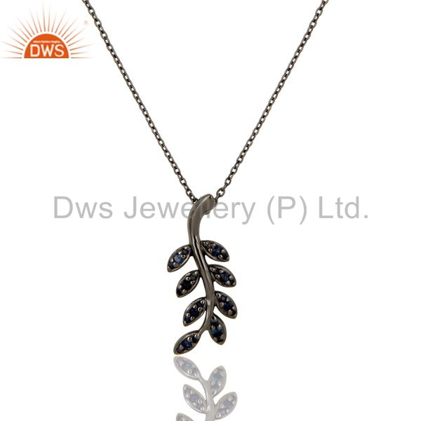 Black oxidized with blue sapphire leaf design sterling silver pendant necklace