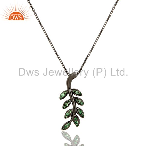 925 sterling silver oxidized leaf design tsavourite chain pendant jewelry