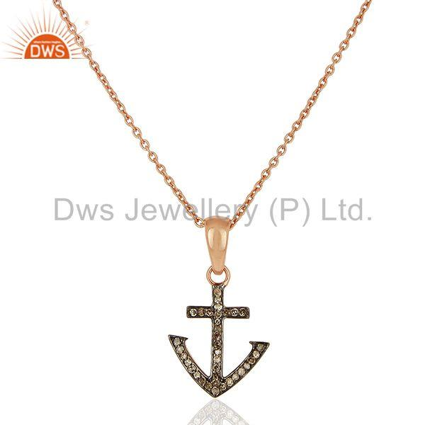 Pave diamond anchor charm sterling silver pendant supplier jewelry