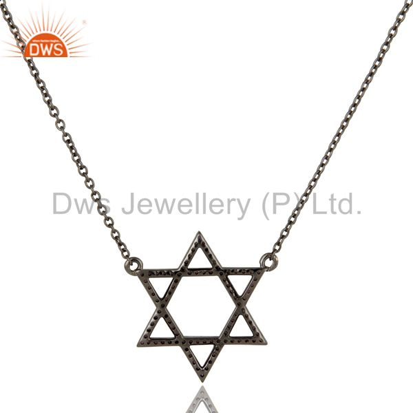 Black oxidized with amethyst star design sterling silver pendant necklace