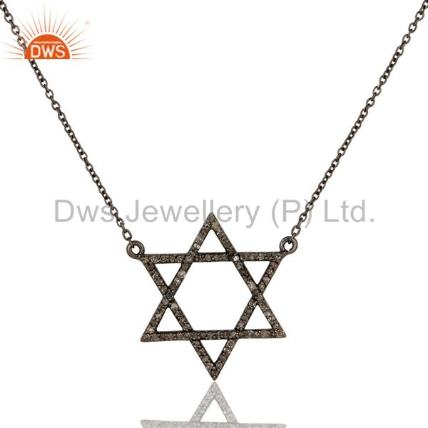 Diamond Cut Star Design Oxidized Sterling Silver Chain Pendant Necklace