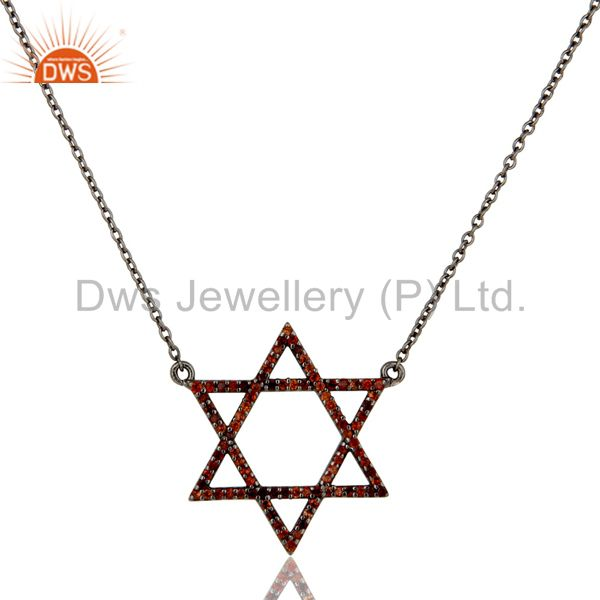 Black Oxidized With Garnet Star Design Sterling Silver Pendant Necklace