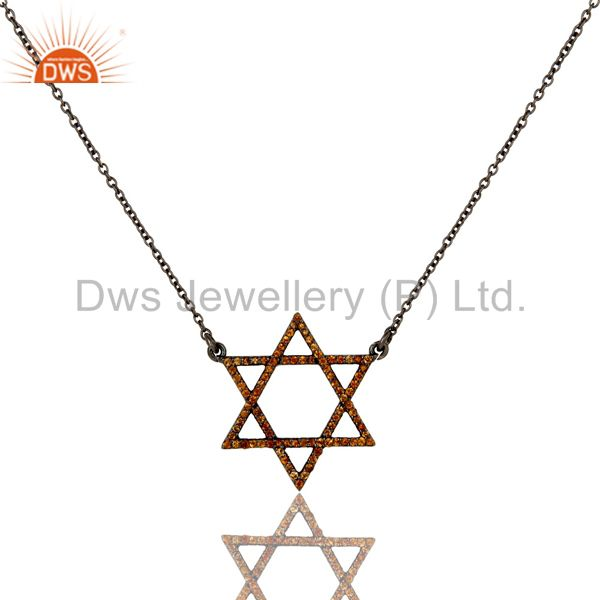 Spessartite Cut Star Style Oxidized 925 Sterling Silver Chain Pendant Necklace