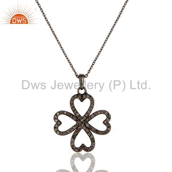 Black Oxidized With Diamond Flower Design Sterling Silver Pendant Necklace