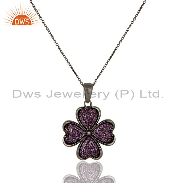 Amethyst cut flower design with oxidized sterling silver chain pendant necklace