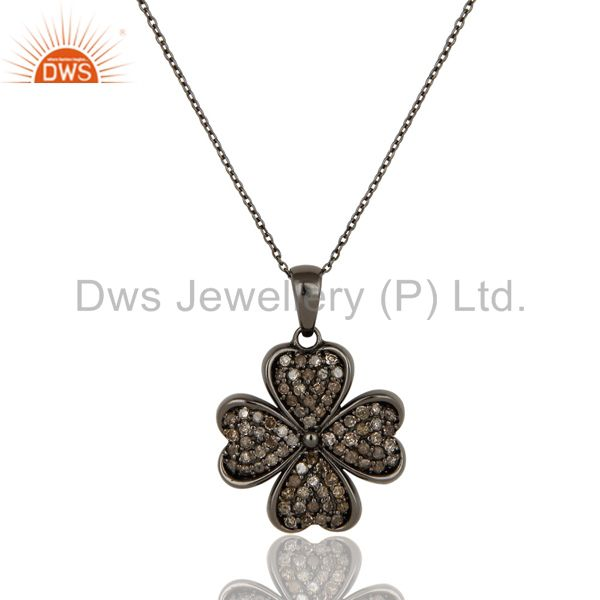 Diamond cut flower design with black oxidized sterling silver pendant necklace