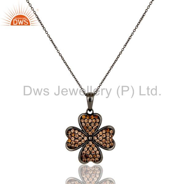 Spessartite Cut Flower Design With Oxidized Sterling Silver Pendant Necklace