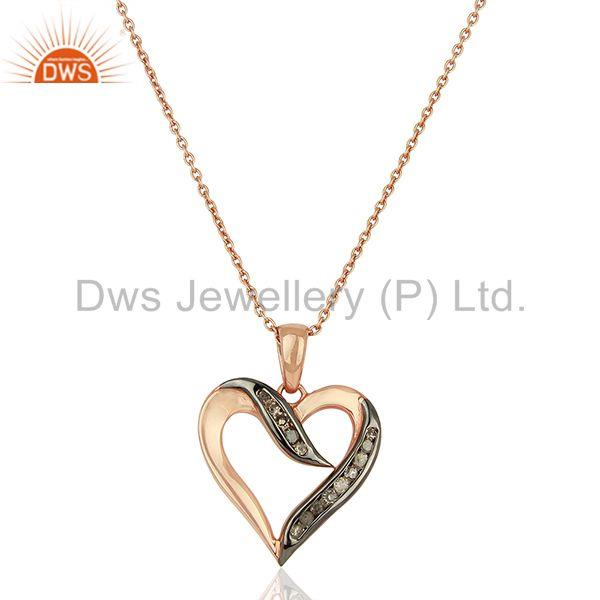 New heart shape pave diamond sterling silver chain pendant jewelry