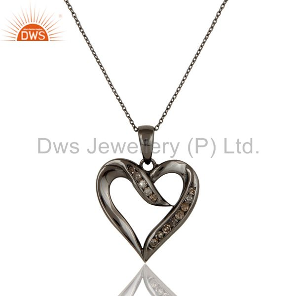 Heart design sterling silver pendant necklace with black oxidized and diamond