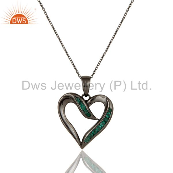 Heart design sterling silver pendant necklace with black oxidized and emerald