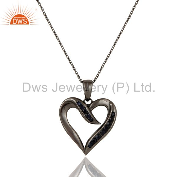 Heart design sterling silver pendant necklace with oxidized and blue sapphire