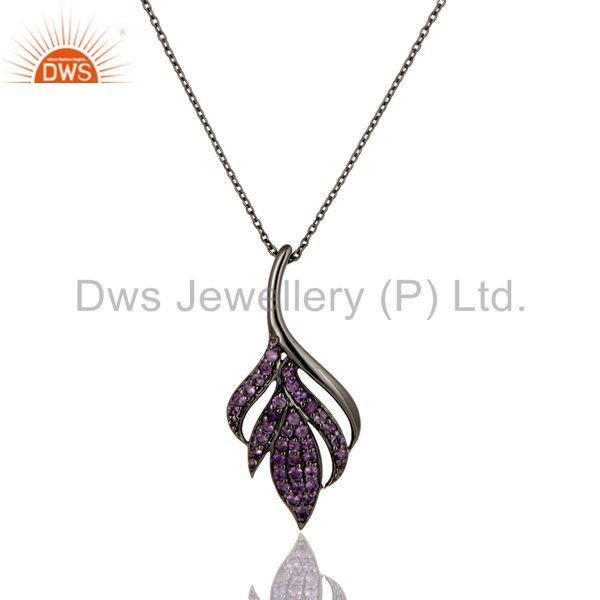 Black Oxidized 925 Sterling Silver Round Cut Amethyst Chain Pendant Necklace