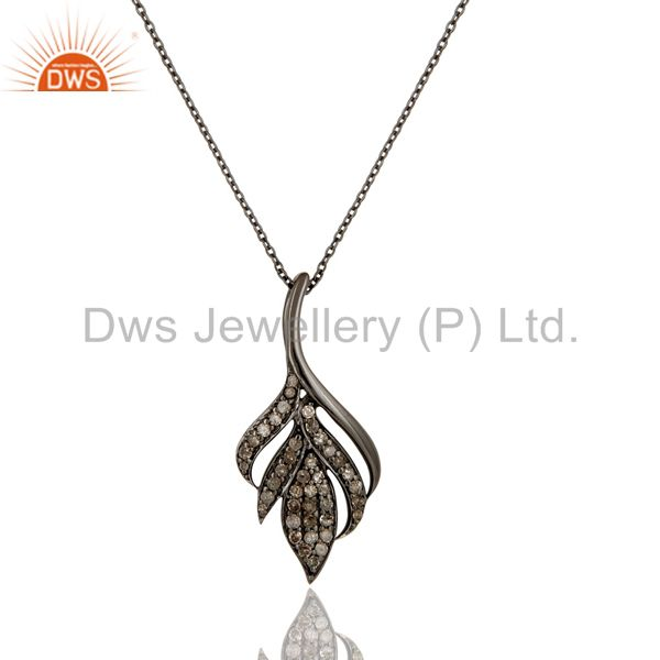 Black Oxidized with Diamond Cut 925 Sterling Silver Pendant Necklace