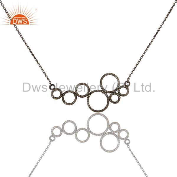 Black oxidized with diamond 925 sterling silver chain pendant necklace