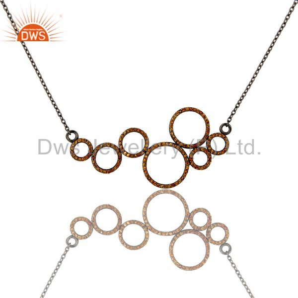 Black Oxidized with Spessartite 925 Sterling Silver Pendant Necklace