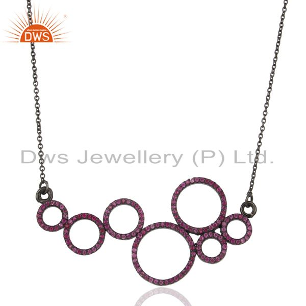 Pink Sapphire round Circle Black Rhodium Plated Sterling Silver Necklace