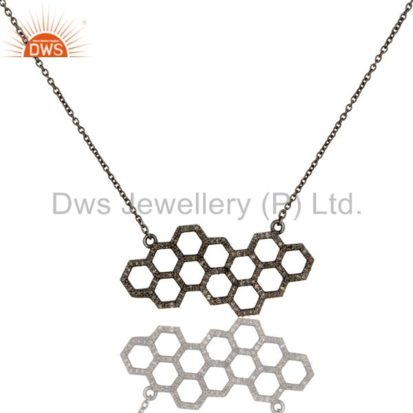 Hollow Out Hole Diamond Round Oxidized Sterling Silver Chain Pendant Necklace