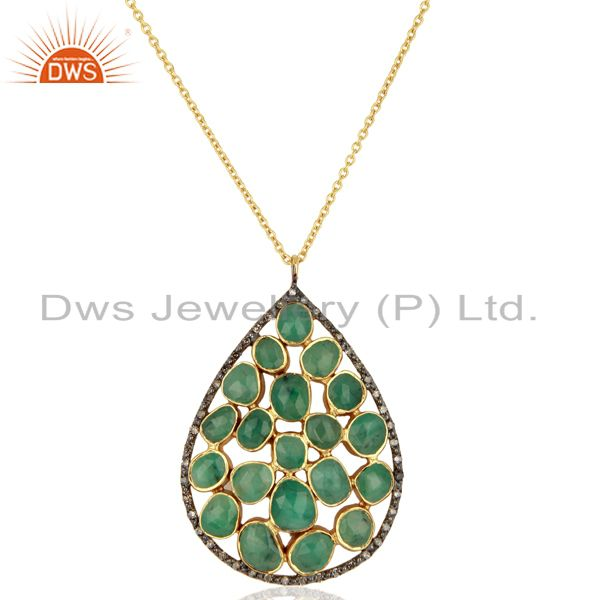 Genuine Diamond Emerald 18K Solid Gold Chain Pendant Necklace Gemstone Jewelry