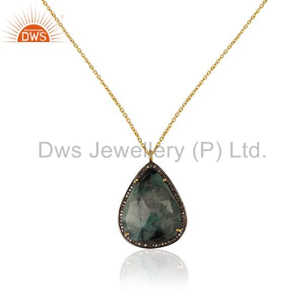 Pave Diamond and Emerald Birthstone Silver Chain Pendant Manufacturer of Jewelry