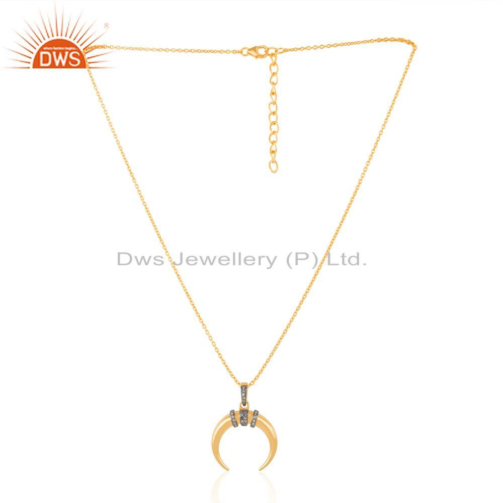 Horn Charm Gold Plated 925 Silver Women Designer Chain Pendant Jewelry