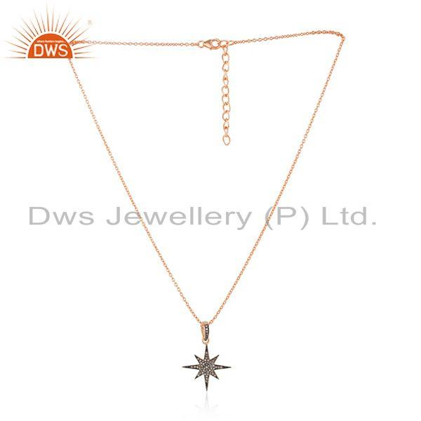 Pave Diamond Rose Gold Plated Sterling Silver Designer Chain Pendant