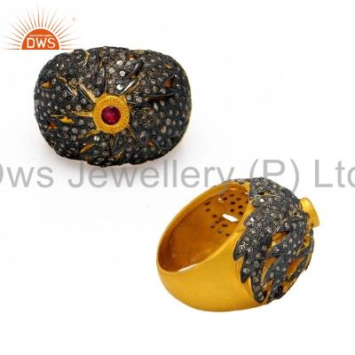 18K Yellow Gold Over Sterling Silver Pave Diamond And Ruby Gemstone Dome Ring