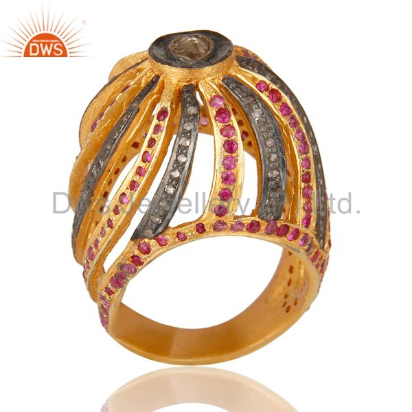 Ruby Pave Diamond Sterling Silver Designer Dome Ring - Yellow Gold Plated