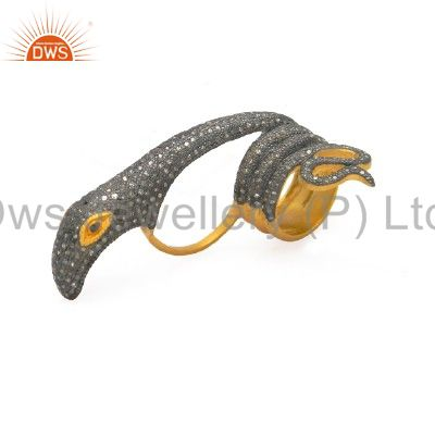 18K Yellow Gold Plated Sterling Silver Pave Set Diamond Designer Snake Ring