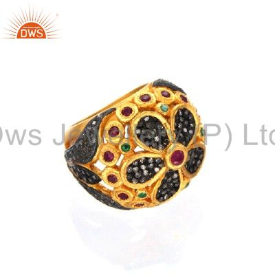 18K Gold Over Sterling Silver Pave Set Diamond Ruby And Emerald Dome Ring
