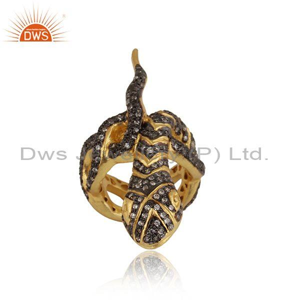 Fancy cubic zirconia designer silver gold plated ring