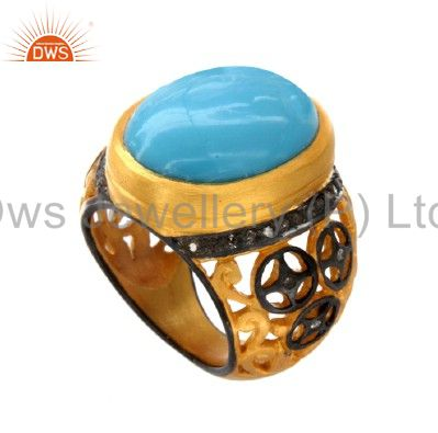 18k gold plated silver pave set diamond and turquoise ring