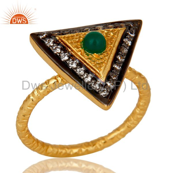 18K Yellow Gold Plated Sterling Silver Green Onyx Hammered Band Ring With CZ