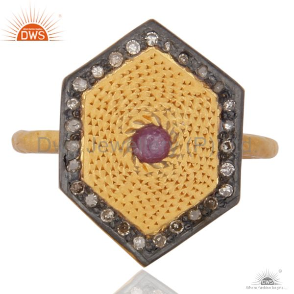 Handmade 18K Yellow Gold Plated 925 Sterling Silver Ruby Diamond Pave Set Ring