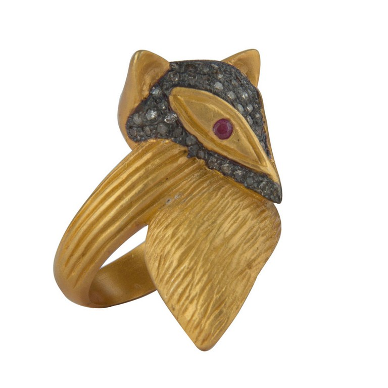 18K Gold Over Sterling Silver Ruby And Pave Diamond Owl Ring