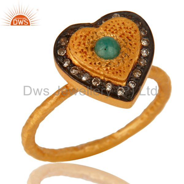 Emerald Gemstone Pave Diamond 18K Gold Over Sterling Silver Heart Ring