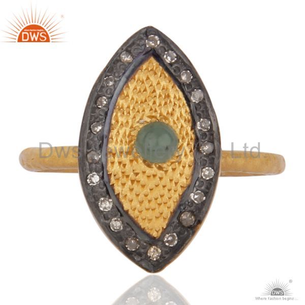 24 k Yellow Gold Plated 925 Sterling Silver Emerald Pave Diamond Ring Jewelry