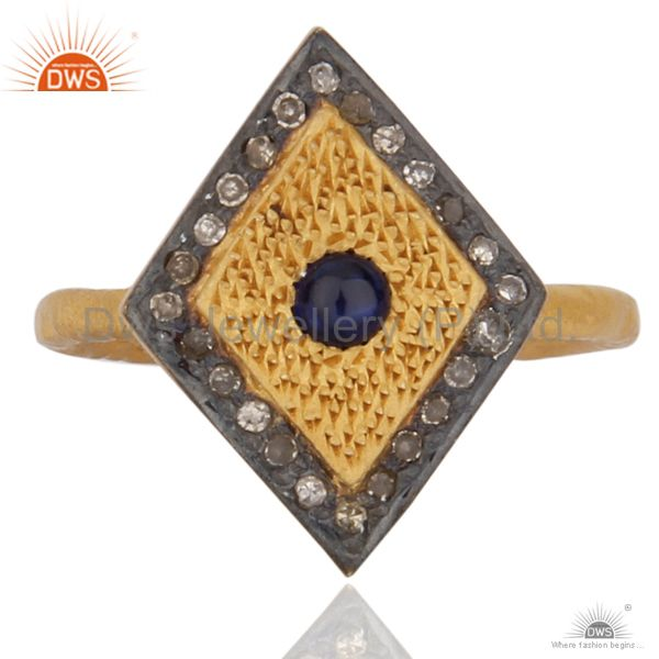 Pave Diamond Blue Sapphire18k Gold Plated 925 Sterling Silver High Fashion Ring