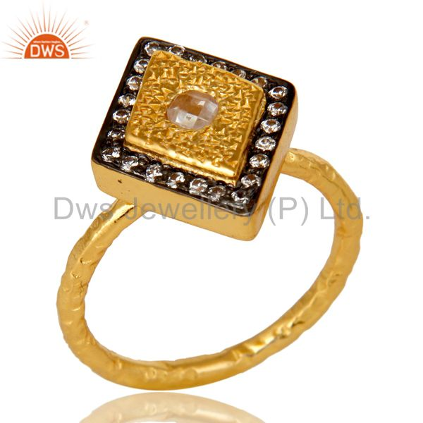 14K Yellow Gold Plated Sterling Silver Cubic Zirconia Hammered Statement Ring
