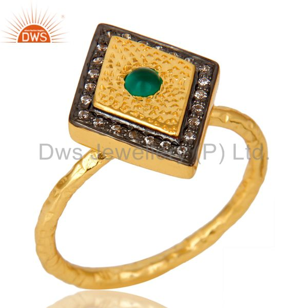 14K Yellow Gold Plated Sterling Silver Green Onyx And CZ Hammered Statement Ring
