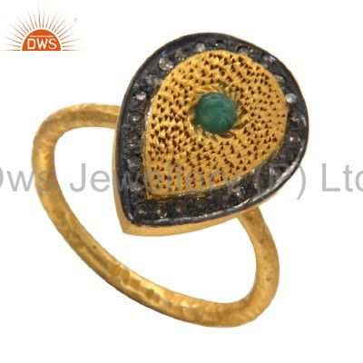 18K Gold Over Sterling Silver Emerald Pave Diamond Hammered Band Drop Ring
