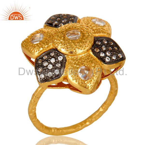 14K Yellow Gold Plated Sterling Silver Cubic Zirconia Flower Cocktail Ring