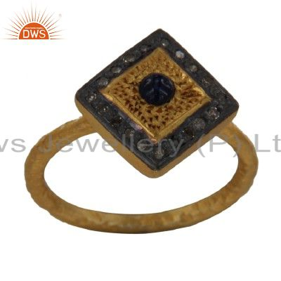 18K Yellow Gold Plated Sterling Silver Blue Sapphire And Pave Diamond Stack Ring