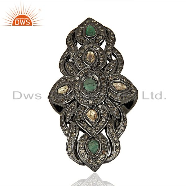 Antique Pave Diamond Emerald Gemstone Engagement Ring Manufacturer